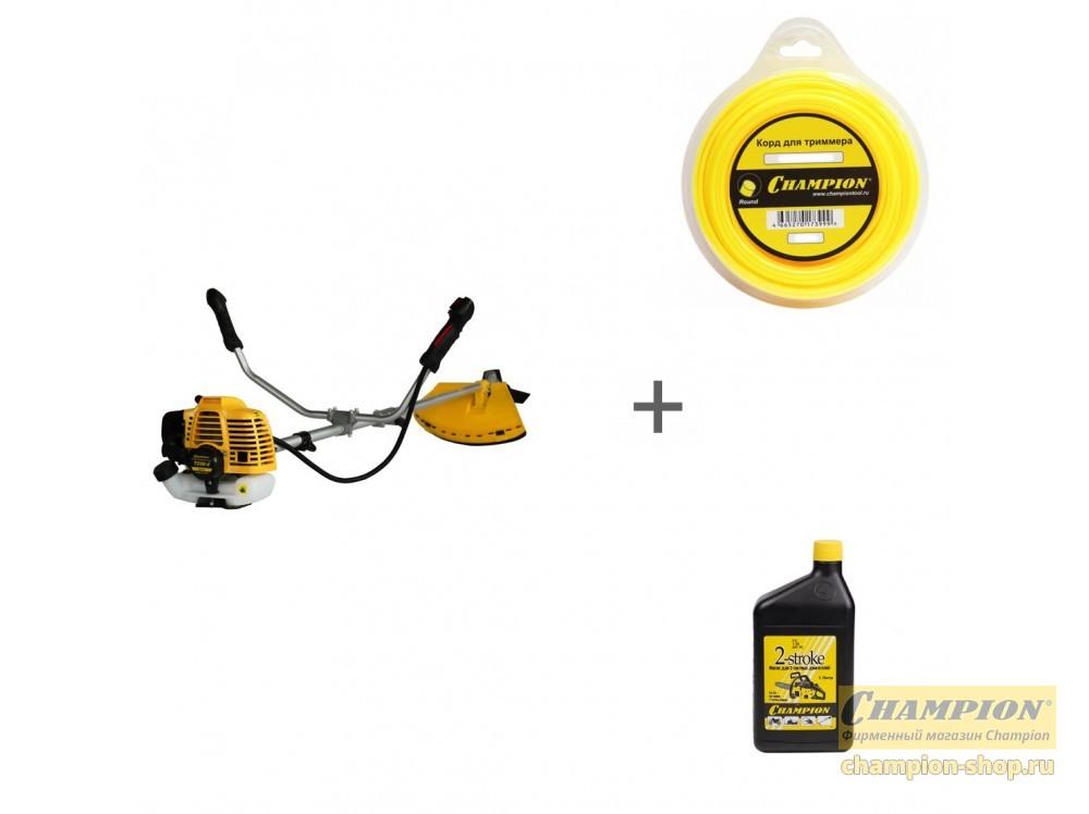 Триммер бензиновый Champion Т256-2 + корд и масло в подарок  C5004, 952801!