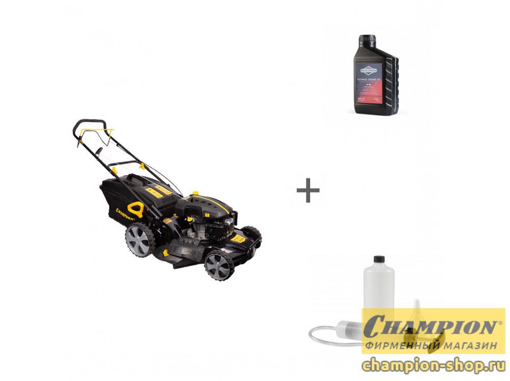Газонокосилка бензиновая Champion LM5345 + масло + набор сервисный в подарок!