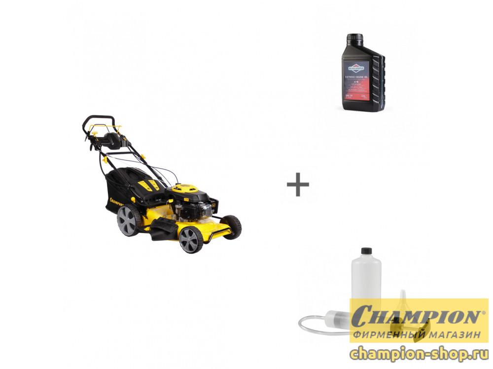 Газонокосилка бензиновая Champion LM5346E + масло + набор сервисный в подарок!