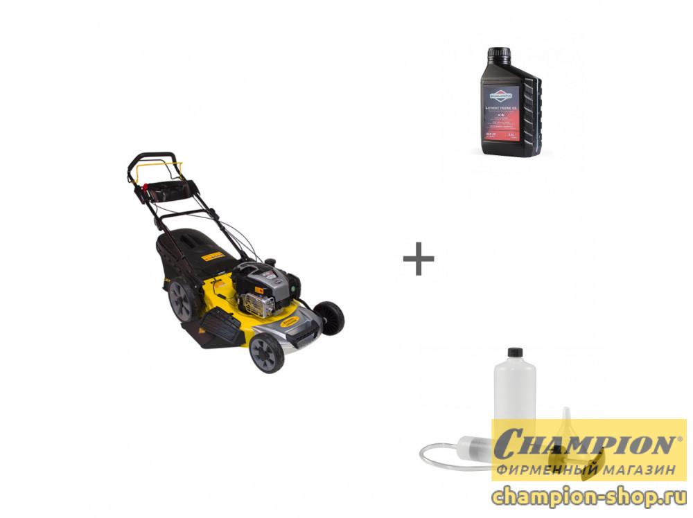 Газонокосилка бензиновая Champion LM5347EBS + масло + набор сервисный в подарок!