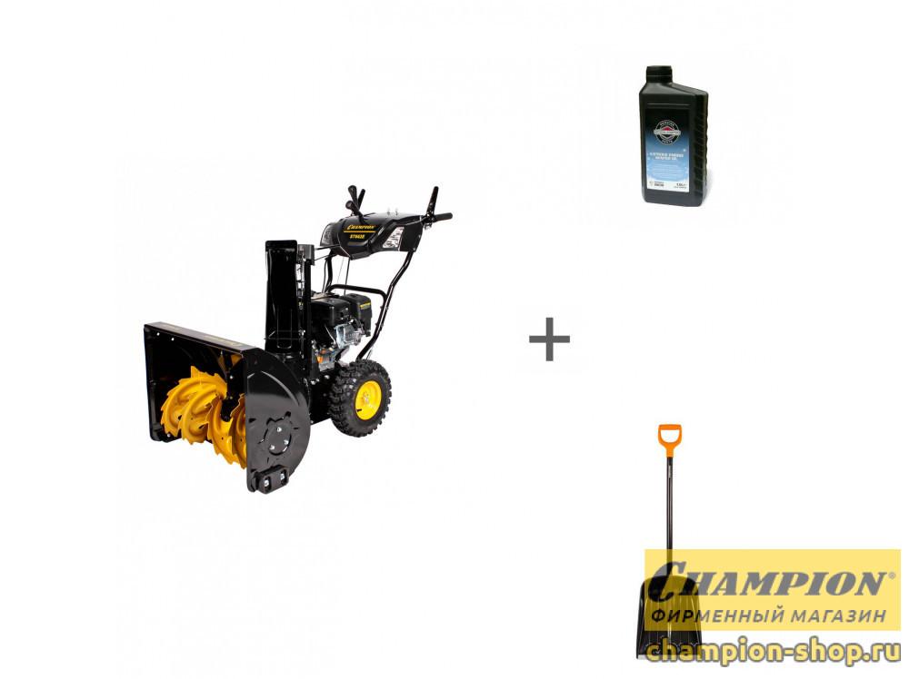Снегоуборщик бензиновый Champion ST662E + лопата + масло в подарок!
