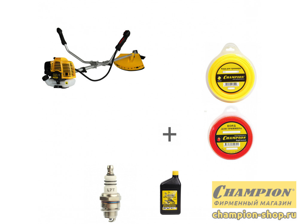 Триммер бензиновый Champion Т256-2 + два корда + масло + свеча зажигания в подарок!