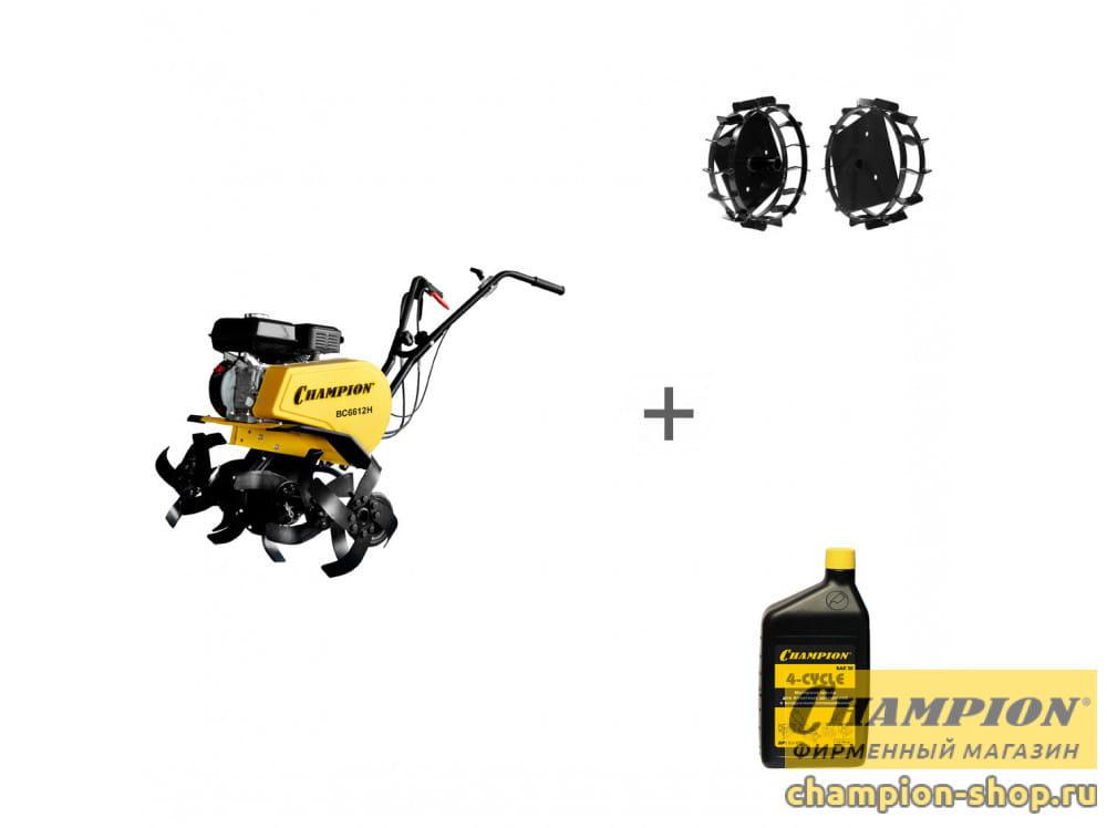 Культиватор бензиновый Champion BC 6612H + грунтозацепы + масло + в подарок!