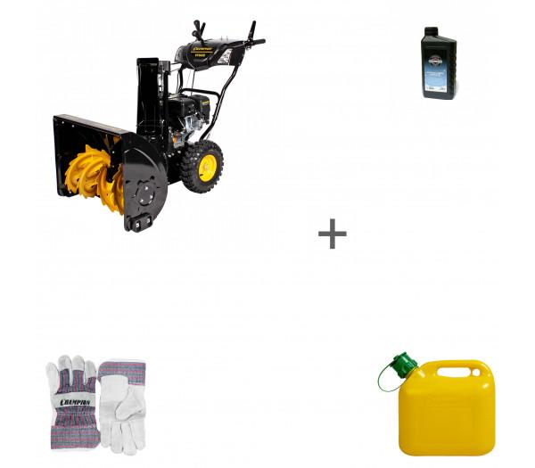 Снегоуборщик бензиновый Champion ST662E + масло + канистра + перчатки в подарок!