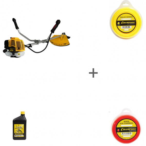 Триммер бензиновый Champion Т256-2 + два корда и масло в подарок!