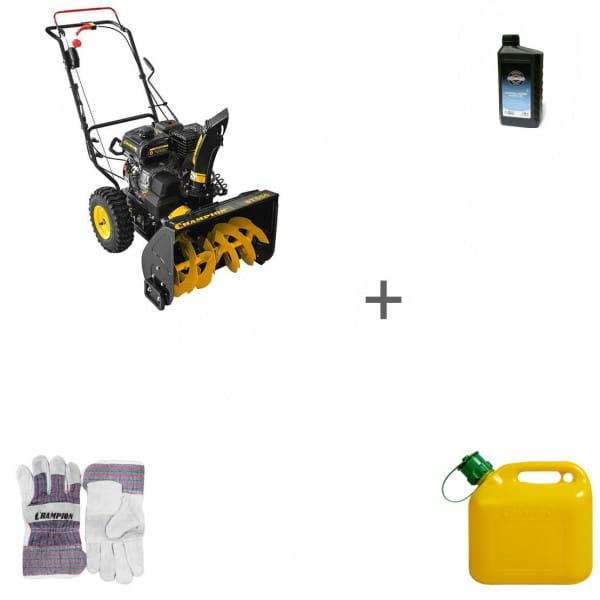 Снегоуборщик бензиновый Champion ST556 + масло + канистра + перчатки в подарок!