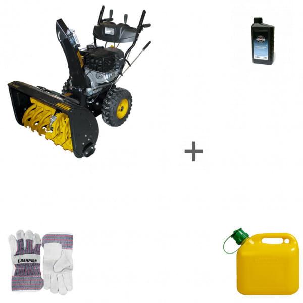 Снегоуборщик бензиновый Champion ST1376E + масло + канистра + перчатки в подарок!